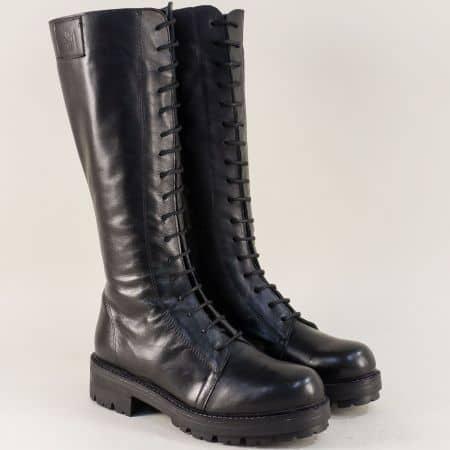 Дамски ботуши с връзки, цип и грайфер в черен цвят 97553ch