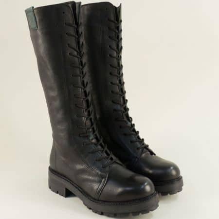 Дамски черни ботуши с връзки от кожа на български производител 97553ch1