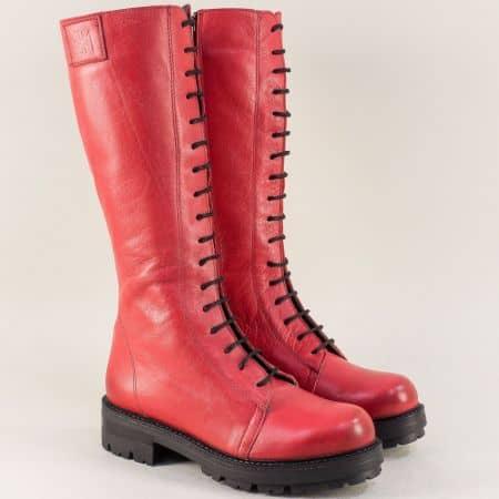 Червени дамски ботуши на нисък ток с грайфер 97553chv
