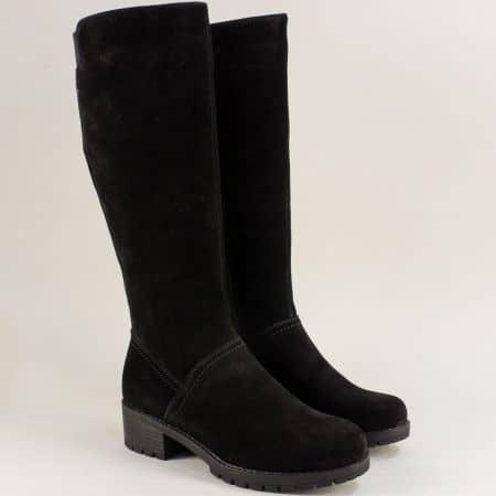 Велурени дамски ботуши в черно на нисък ток- Rieker 97651vch