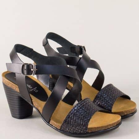Испански дамски сандали с кожена стелка в черен цвят 9826ch
