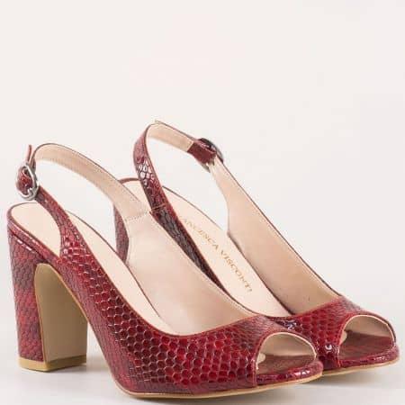 Червени дамски сандали на стабилен висок ток със змийски принт 985zchv