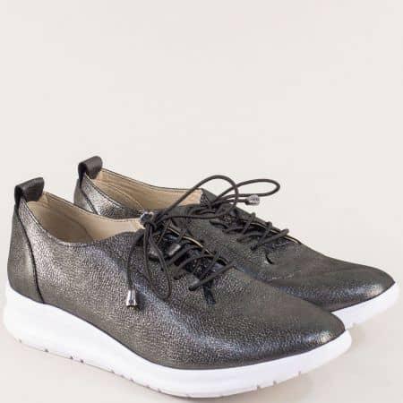 Кожени дамски обувки с ластични връзки в цвят бронз 9912brz