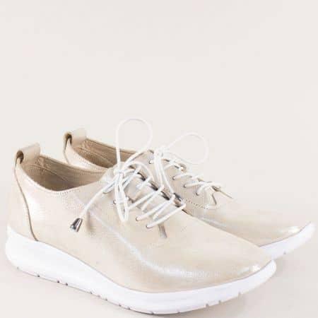 Златни дамски обувки с ластични връзки от естествена кожа 9912zl