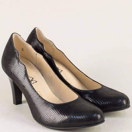 Кожени дамски обувки Caprice в черен цвят на висок ток 9922406ch