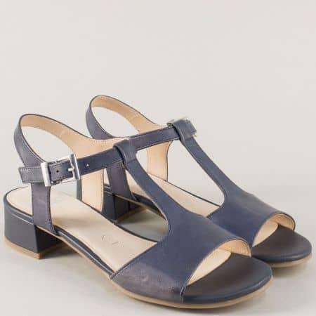 Дамски сандали на нисък ток от синя естествена кожа 9928205s