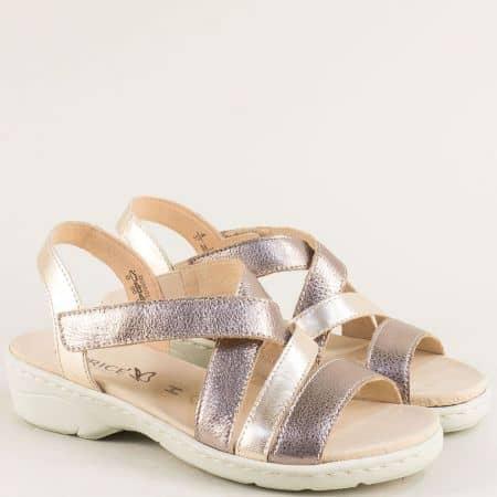 Златни дамски сандали от естествена кожа- Caprice 9928250zl