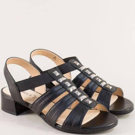 Дамски сандали на нисък ток от естествена кожа в черно 9928204ch