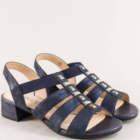 Сини дамски сандали на нисък ток с кожена стелка 9928204s