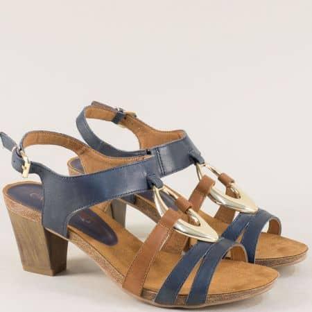 Кожени дамски сандали в синьо и кафяво на висок ток 9928308sk