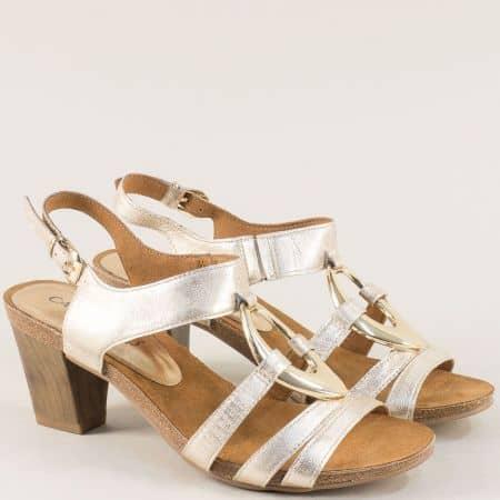 Златисти дамски сандали от естествена кожа на висок ток 9928308zl