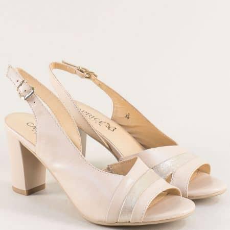 Бежови дамски сандали на висок ток от естествена кожа 9928314bj