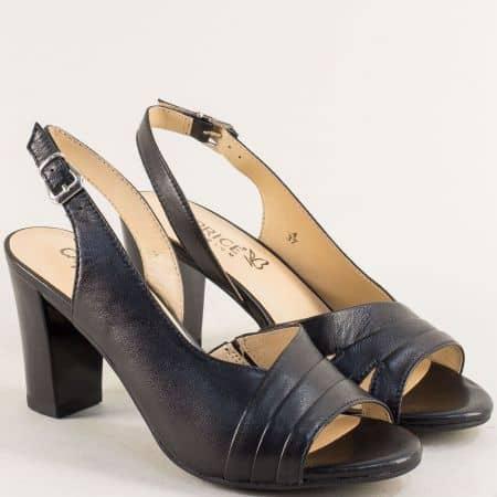 Черни дамски сандали на висок ток от естествена кожа 9928314ch