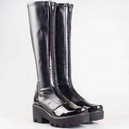 Дамски ежедневни ботуши произведени от висококачествен стреч материал на български производител в черен цвят 9956641chlch