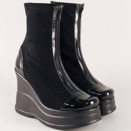Модерни дамски боти на висока платформа в черно  9962311nchlch