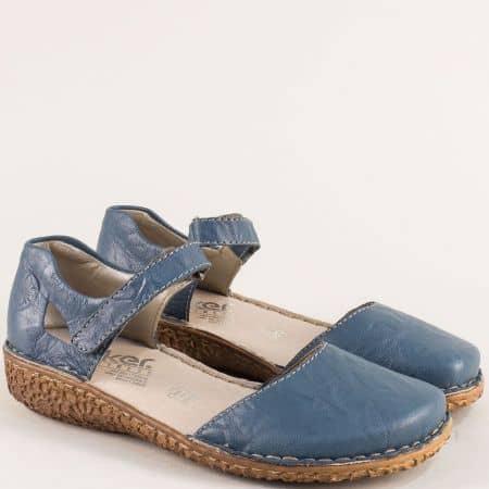 Сини дамски сандали със затворени пръсти и пета- Rieker 0969s