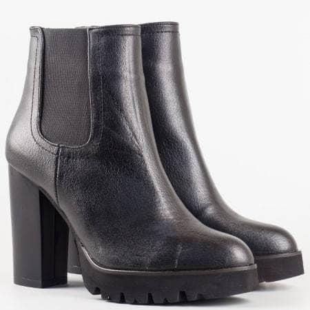 Дамски стилни боти изработени от висококачествена естествена кожа на висок ток в черен цвят 997ch