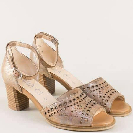 Златни дамски сандали от естествена кожа на среден ток 9j762zl