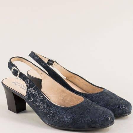 Сини дамски обувки на среден ток от естествена кожа 9k25s