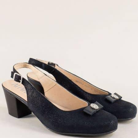 Сини дамски обувки с отворена пета от естествена кожа 9k28s