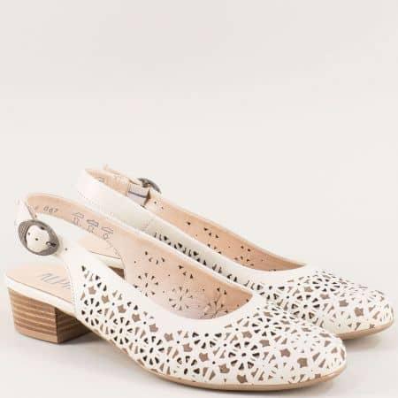 Бежови дамски обувки с отворена пета и перфорация 9k313bj