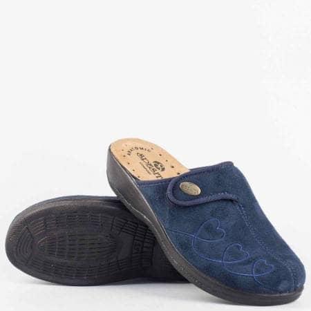 Сини дамски пантофи тип чехли с анатомично ходило и велкро лепенка за регулиране на ширината gloriyas