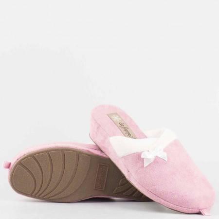 Домашни дамски пантофи  тип чехли  на удобно ходило от висококачествен текстил в розов цвят violedi70rz