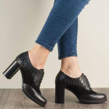 Дамски обувки на висок ток от черна естествена кожа 1720700ch