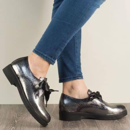 Бронзови дамски обувки с връзки и кожена стелка mm096brz