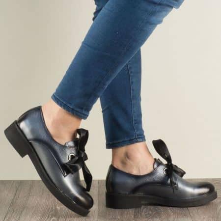 Дамски обувки на нисък ток от естествена кожа в сив цвят mm096sv