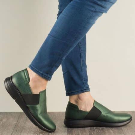 Равни дамски обувки с два ластика в зелен цвят 1641198iz