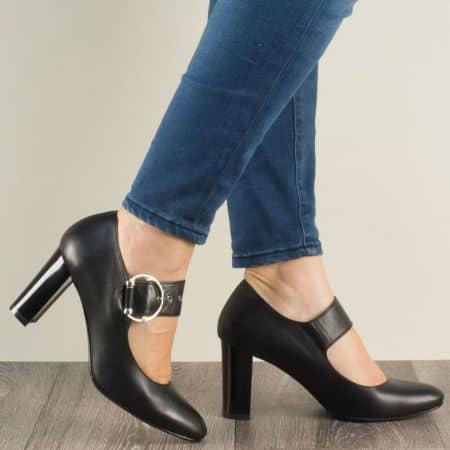 Черни дамски обувки с катарама от естествена кожа 165ch