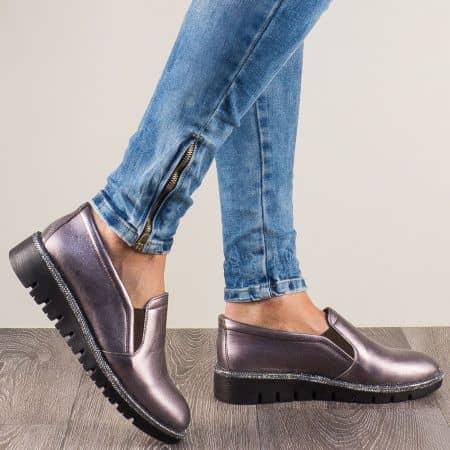 Бронзови дамски обувки с два ластика от естествена кожа 8016brz