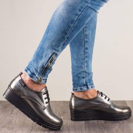 Бронзови дамски обувки от естествена кожа с връзки 244851brz