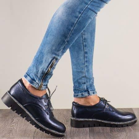 Дамски обувки с връзки от естествена кожа в син цвят 8019s