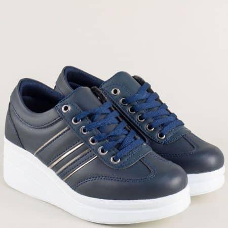 Тъмно сини дамски обувки с връзки на бяла платформа a101s