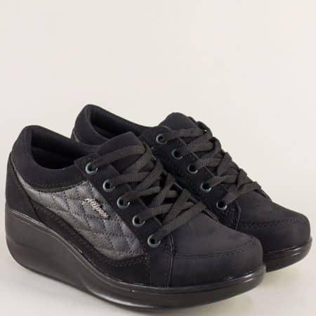 Дамски обувки на платформа с връзки в черен цвят a107ch