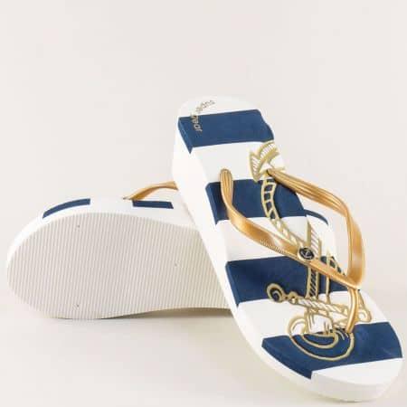 Дамски джапанки на платформа в бяло, синьо и златно a1159zl