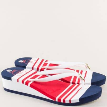 Дамски джапанки на платформа в бяло, червено и синьо a1171s