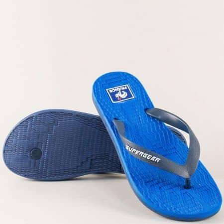 Дамски джапанки на равно ходило в син цвят a1228-40s