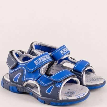 Детски сандали с три лепки в син цвят a1298-30s