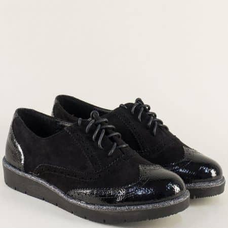 Равни дамски обувки с швейцарски мотив в черен цвят a13ch