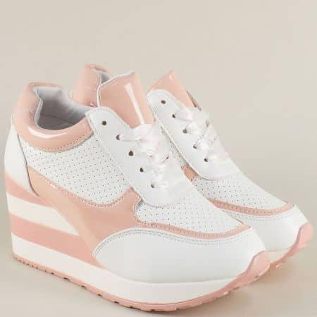 Високи дамски маратонки с връзки в бял и розов цвят a151b