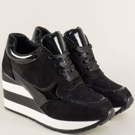 Дамски маратонки в черен цвят с връзки на платформа  a151ch