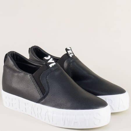 Спортни дамски обувки в черен цвят на платформа a17-40ch