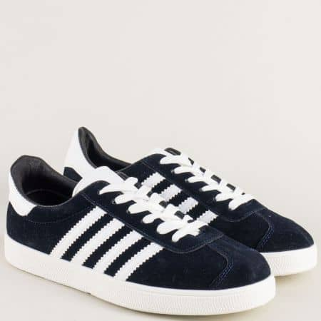 Спортни дамски обувки в тъмно син цвят с бели кантове a1913s