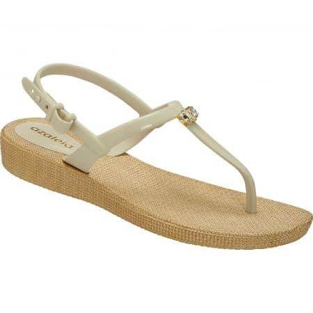 Бежови дамски сандали на равно ходило- AZALEIA a246131bj