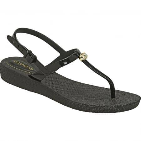 Дамски сандали в черен цвят на равно ходило- AZALEIA a246131ch