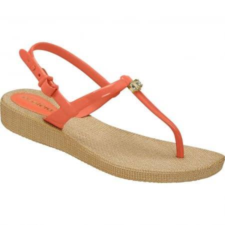 Оранжеви дамски сандали на равно ходило- AZALEIA a246131o