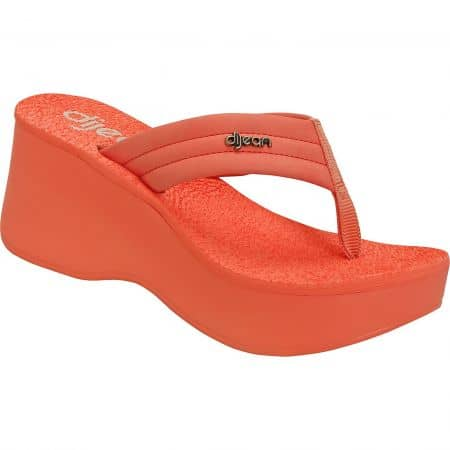 Оранжеви дамски чехли на платформа- DIJEAN a276356o